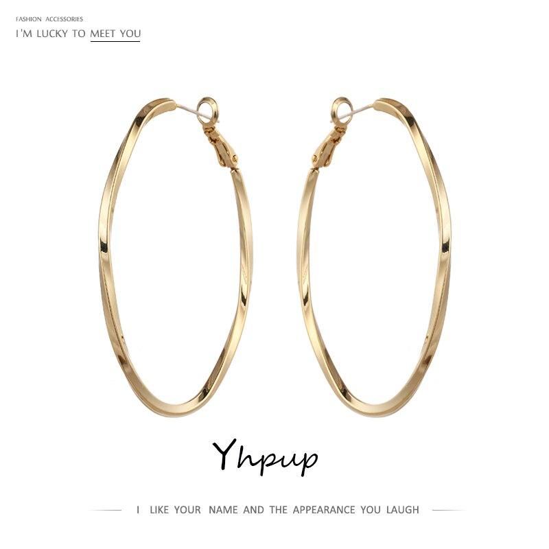 Yhpup золотые овальные круглые серьги кольца геометрические медные Подвески Металлические простые эффектные очаровательные модные ювелирные украшения для ночного клуба для женщин|Серьги-кольца|   | АлиЭкспресс