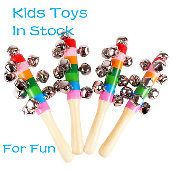 Baby Toys For Children Kids Educational Toys Colorful Wooden Bell Orff Instruments Baby Rattles 10 Percussion String Of Bells image