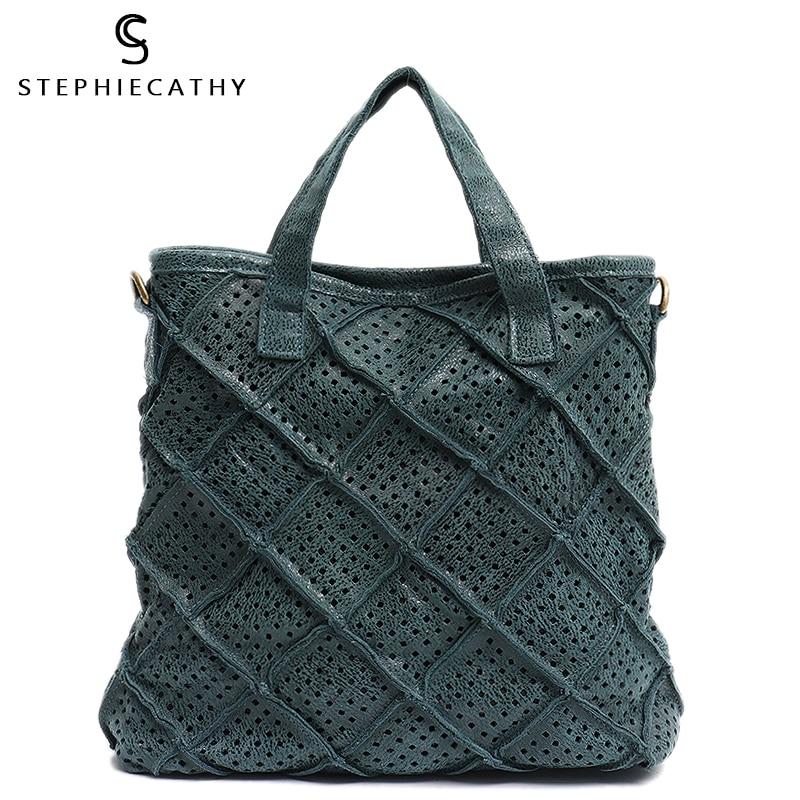 SC Hollow Out Design Genuine Leather Handbag Women Vintage Check Leather Patchwork Top-handle Tote Female Crossbody Shoulder Bag
