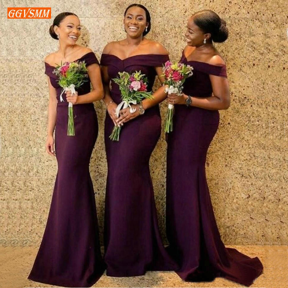 Trendy Grape Mermaid   Bridesmaid     Dresses   Long African Satin Off Shoulder Maid Of Honer   Dress   Custom Made Girl Wedding Guest Gowns