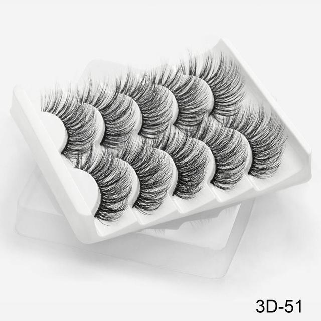 SEXYSHEEP 5Pairs 3D Mink Hair False Eyelashes Natural/Thick Long Eye Lashes Wispy Makeup Beauty Extension Tools 5