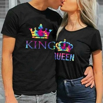 Colorful KING QUEEN Crown Print Couple T Shirt Lovers Short Sleeve O Neck Loose Tshirt Women Man Fashion Tee Shirt Tops Clothes 1