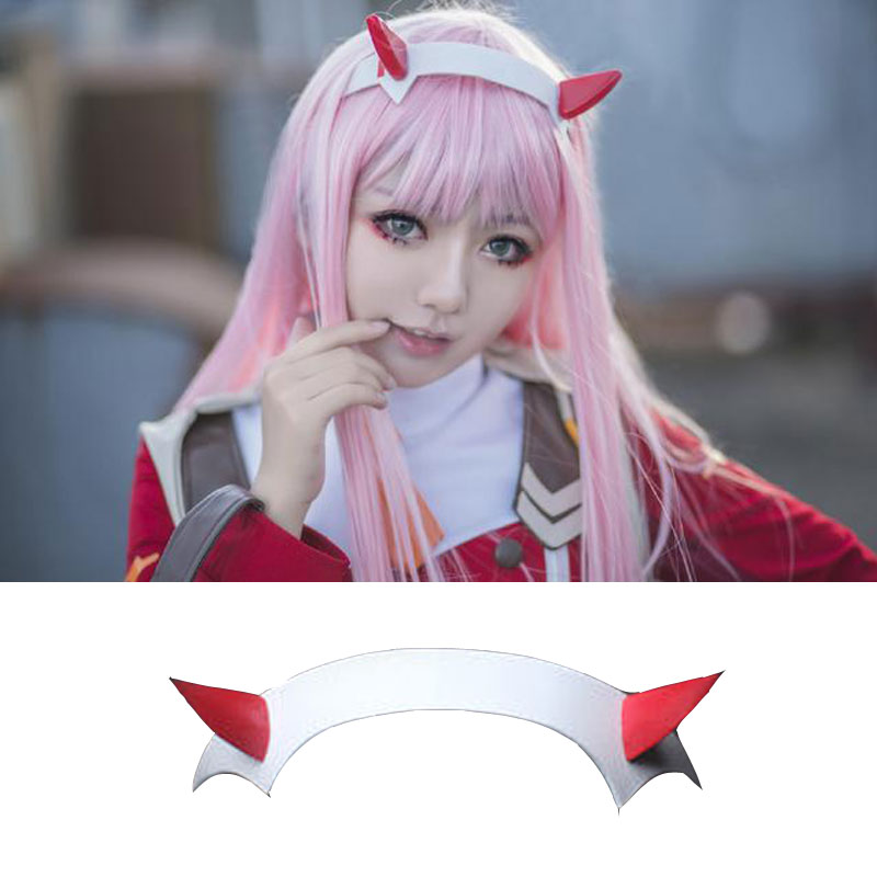 DARLING In The FRANXX Zero Two 02 Headband Devil Horn Hairband Cosplay Prop Lovely Headwear Halloween Gift