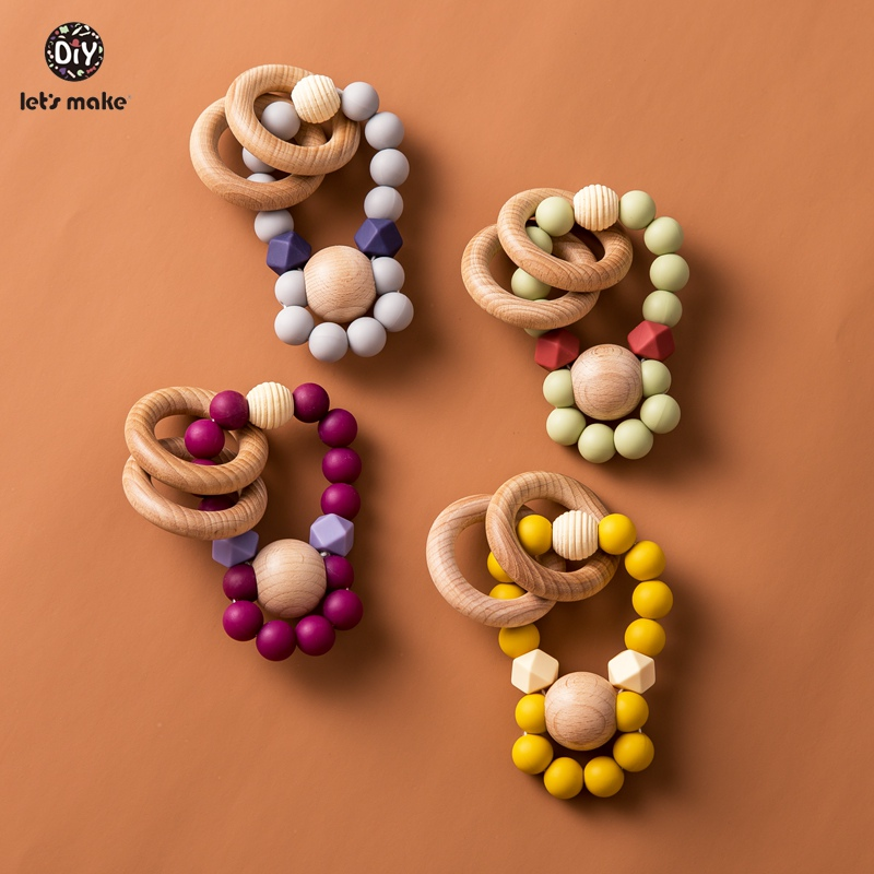 Let's Make 1pc Baby Rattles Food Grade Silicone Beads Sunflower Bpa Free Beech Wood Ring Teething Toys Baby Teether Wood Rattle