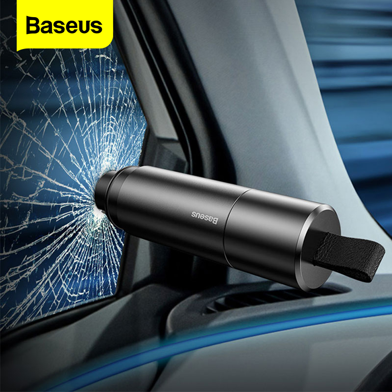 Baseus-martillo de seguridad de coche rompecristales de ventana de coche, cuchilo de cinturón de seguridad automático, Mini martillo de Escape, herramienta de emergencia para coche