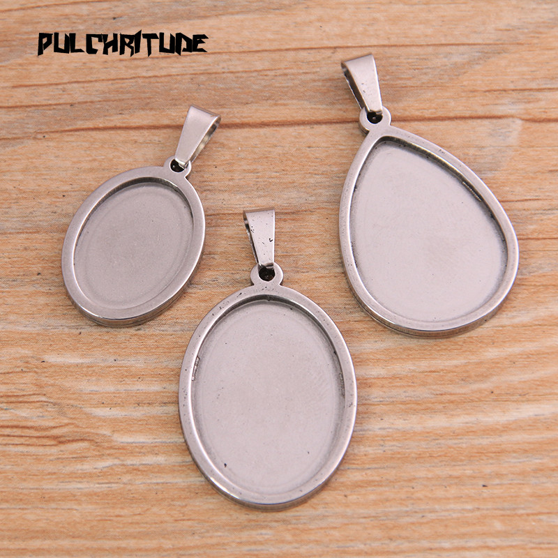 2pcs/lot Silver Color Color 3 Styles Stainless Steel Oval Cabochon Base Setting Diy Blank Pendant Tray For Necklace Making