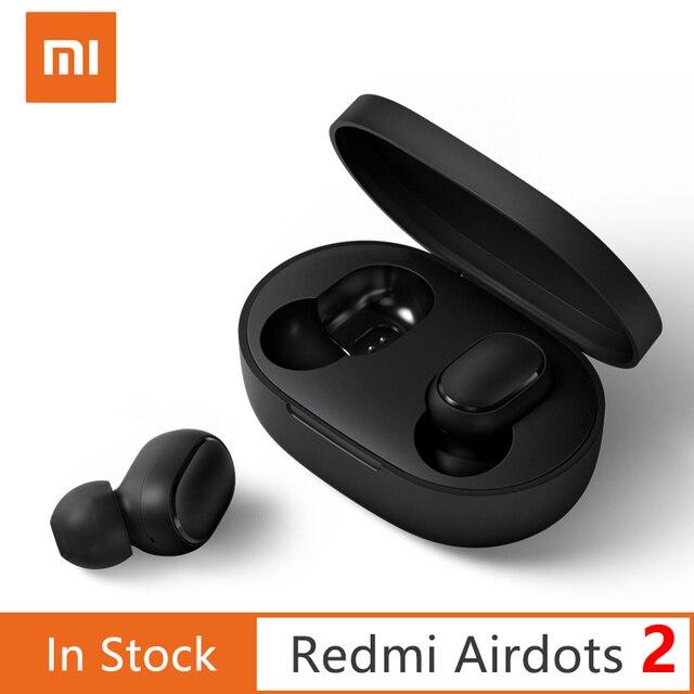 الأصلي Xiaomi Redmi AirDots 2 سماعات الأذن الأساسية 2 اللاسلكية بلوتوث 5.0 سماعة في الأذن ستيريو باس تلح اللاسلكية سماعات الأذن