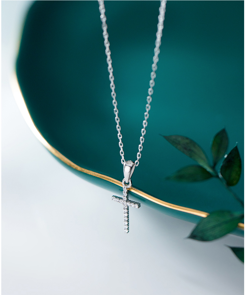 Genuine 925 Sterling Silver CZ Crystal Cross Pendant Choker Necklace For Women Girls Luxury Sterling Silver Jewelry Gift Bijoux (1)