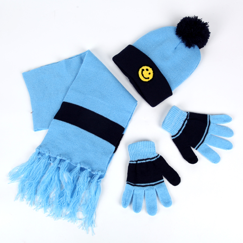 2020 New Hat Scarf Gloves Set For Kids Knitted Warm 3 Pieces Sets Hat Scarves Glove For Boys Girls