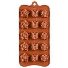 15 even 3 flower chocolate silicone mold Cake mold Food grade silicone baking mold fondant mold bear biscuit mold chocolate fudge mold silicone mold food grade silicone cake mold silicone mold