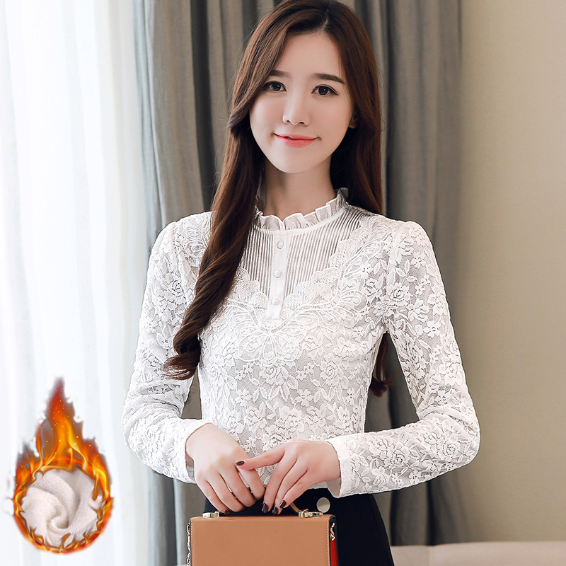 Plus velvet thickened Lace Shirt Women Autumn Winter Plus size 2020 New Korean version Long Sleeve Women Blouse Shirts Tops 626G
