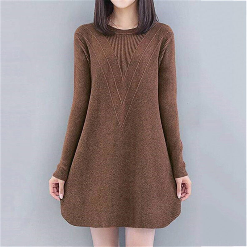 Autumn Winter Women Sweater A-line Loose Casual Mini Knitting Dress For Ladies O-neck Long Sleeve Pullover Plus Size 4XL F2426