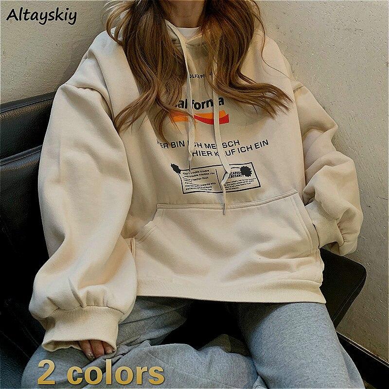 Hoodies Women Printed BF Oversize Casual Womens Sweatshirt Pullover Plus Velvet Warm Hooded School Big Pocket Harajuku Ulzzang