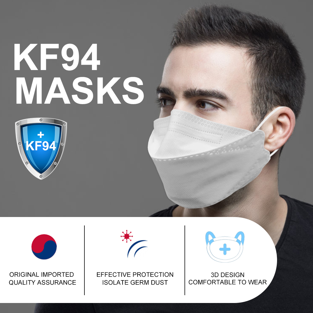 1-5-20 -100 Pcs KF94 Face Mask 4 Layer Non Woven Anti Dust 마스크 Mouth Nose Face Cover 94마스크 Respirator Kf94마스크 일회용마스크필터 Filter