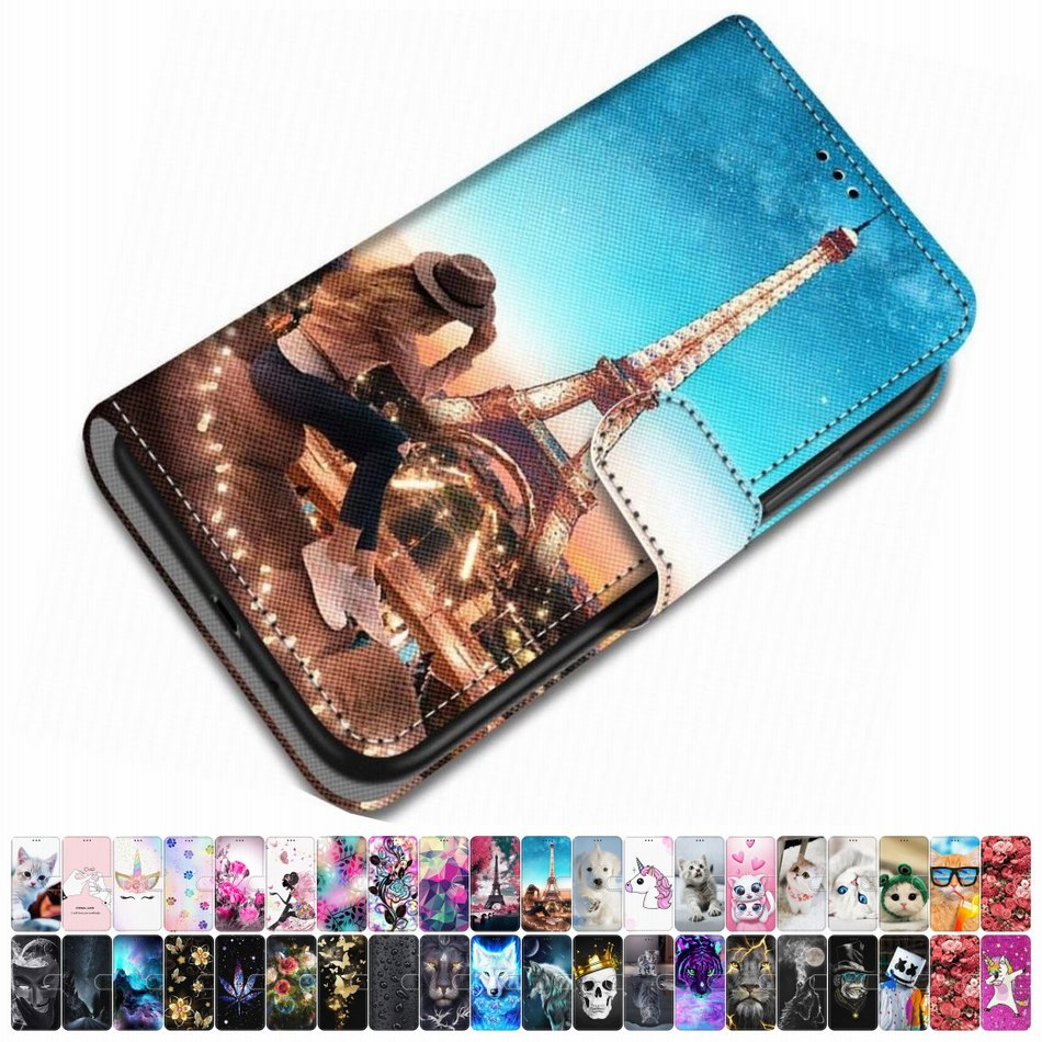 For Case Samsung Galaxy A40 A30 A20 A310 A300 A3 2015 2016 Leather Phone Cover Animal Floral Lovely Girl Boy Magnetic Box O08F image