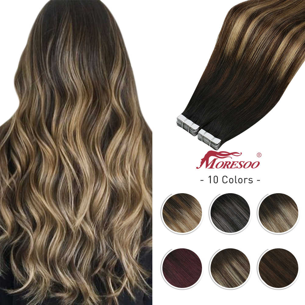Human Hair Tape in Extensions Machine Remy Hair Balayage Ombre Color Black Brown Double Sided Adhesive Invisible Tape Extension