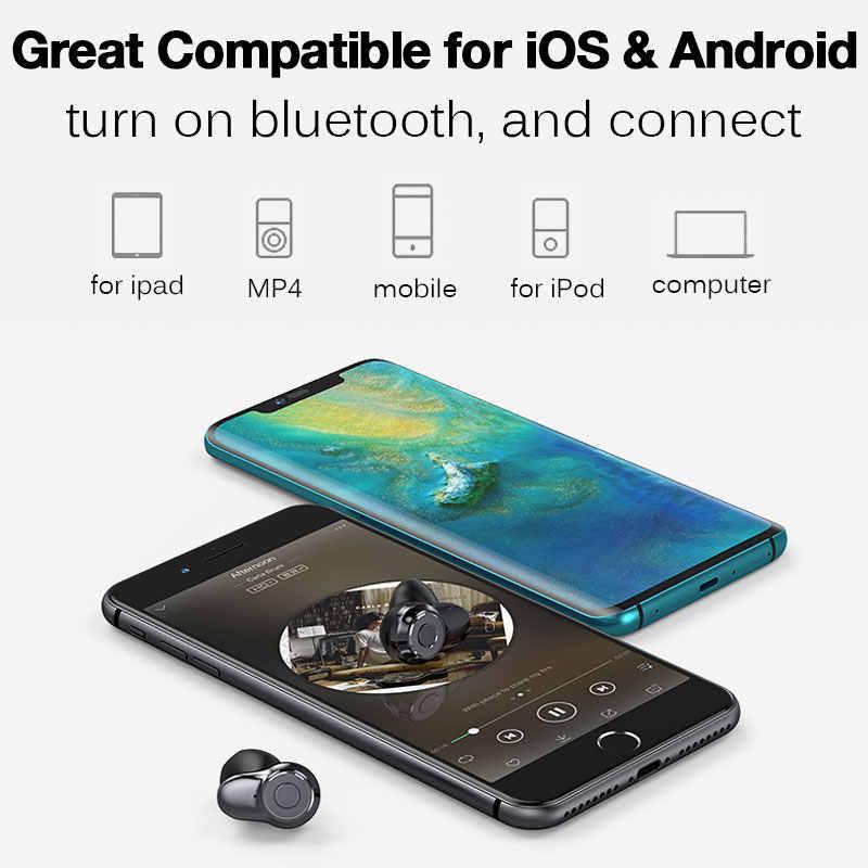 Dotykowy Bluetooth 5.0 bezprzewodowe słuchawki z wyświetlacz LED zasilania 1500mAh etui do ładowania dla iPhone XR 7 8 6s honor 10 Samsung a70 s8