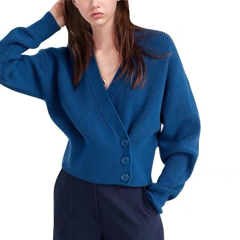 Nouveau femmes Cardigan chandail rétro taille Slim col en v bleu tricot cardigan chandail