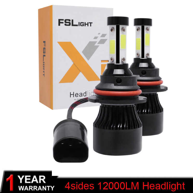 Elglux 2Pcs H4 LED H7 H11 H1 H3 9005 9006 Auto Car Headlight 100W 12000LM High Low Beam Light Automobiles Lamp white 6500K Bulb