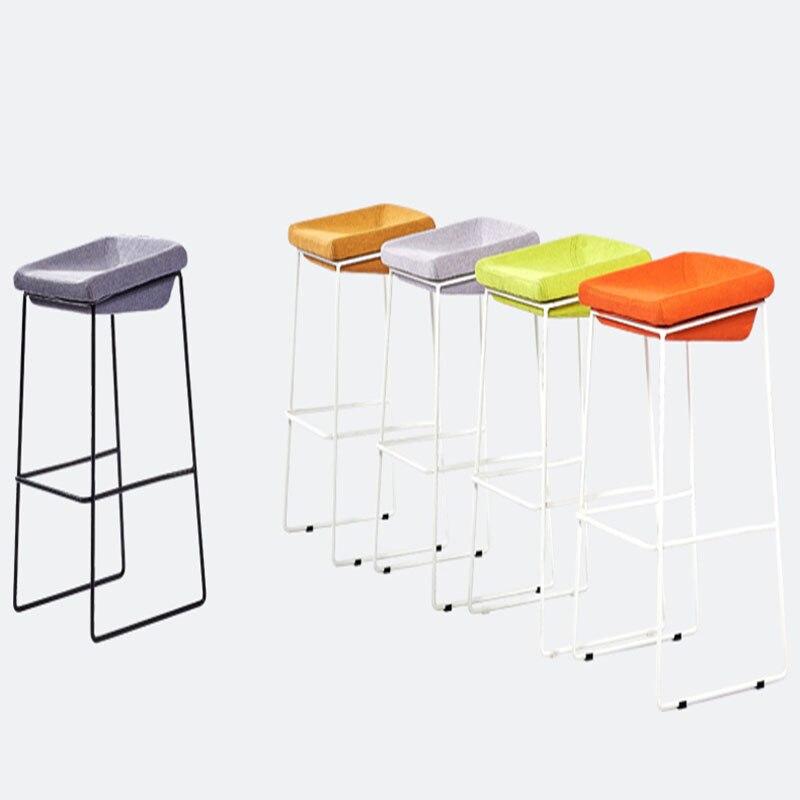 2019 Bar Stools Creative Modern Minimalist Iron Art Colourful Sponge Cushion Leisure Family Business Bar Shop High Foot Barstool