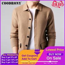 Мужской шерстяной кардиган COODRONY, теплый кашемировый кардиган с карманами, уличная одежда, осень зима 91104