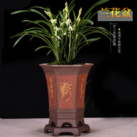 Yixing Boutique Purple Sand Orchid Flowerpot Junzilan With tray Indoor Bonsai Flower Pot Seedling Ceramic Pot Garden Decoration