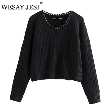 WESAY JESI Women Autumn Chain decoration O-Neck knitted sweater winter Knitted sweaters Long Sleeve Casual Loose Knit pullover seggnice striped loose ladies long sleeve sweater pullover 2020 autumn winter new arrival round neck knit sweaters for women