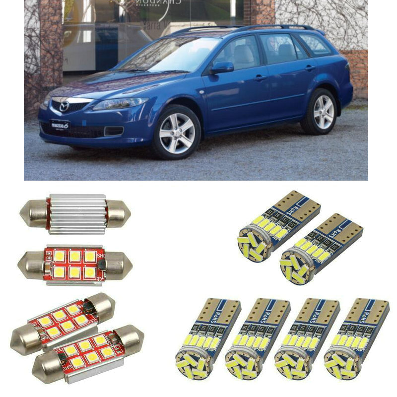 Interior led Car lights For <font><b>Mazda</b></font> <font><b>6</b></font> station <font><b>wagon</b></font> gy estate bulbs for cars License Plate Light 8pc image