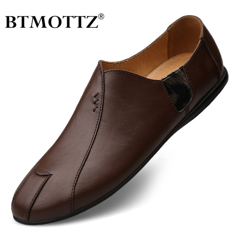 Genuine Leather Mens Shoes Casual Luxury Brand 2020 Men Loafers Moccasins Breathable Slip On Male Driving Shoes Plus Size 38-47