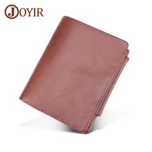 JOYIR Genuine Leather Men Wallets Vintage Trifold Wallet Zipper&Hasp Coin Pocket Cow Purse RFID For portfel