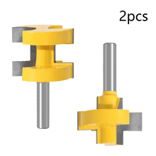 2PCS 8mm Shank Router Bit Set Multifunctional T-Slot Square Tooth Tenon Woodworking Milling Tools Used In MDF Solid Wood