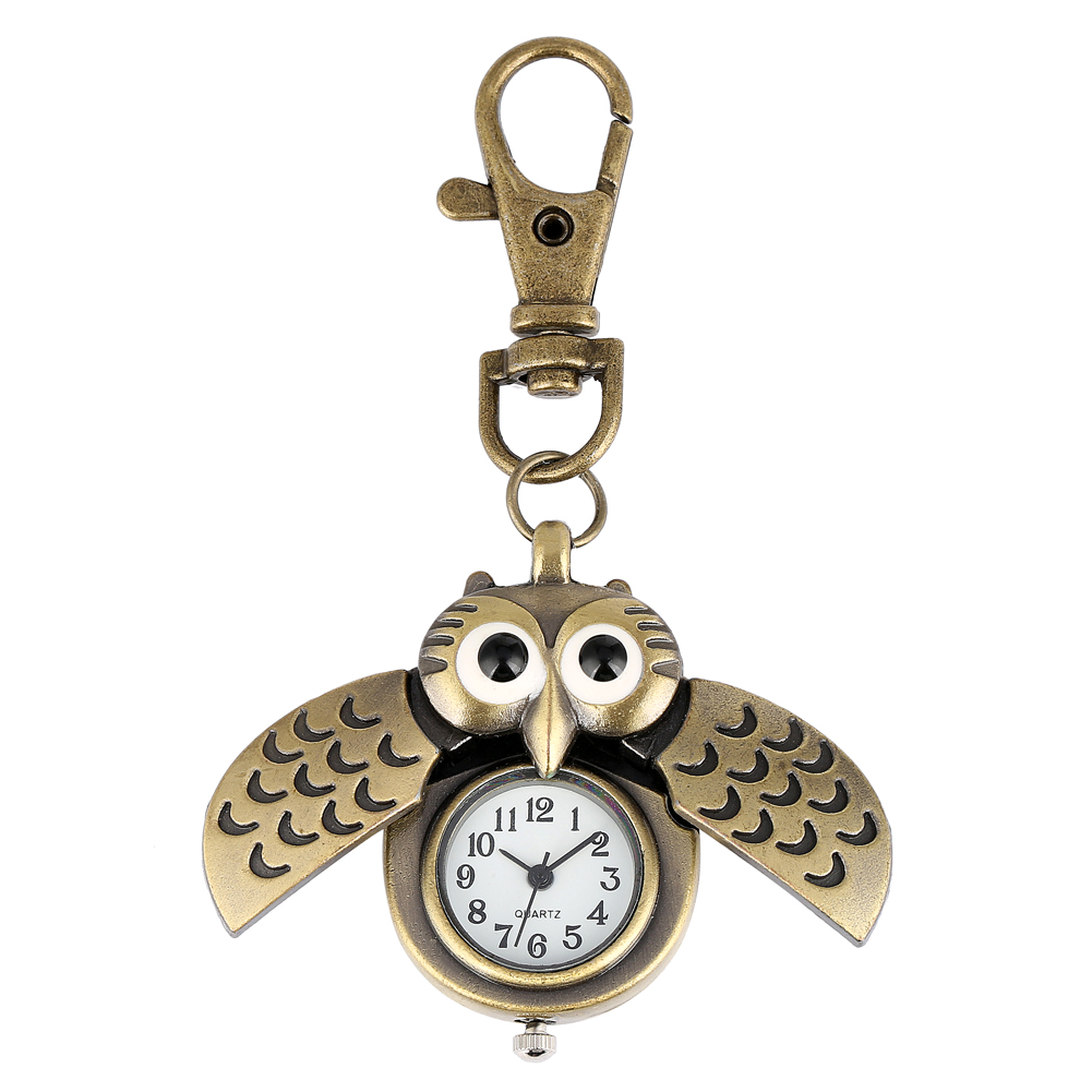 Cute Owl Key Chain Ring Pocket Watch For Women Simple White Dial With Arabic Numerals Clock Men Bronze Accessory Gift Zakhorloge