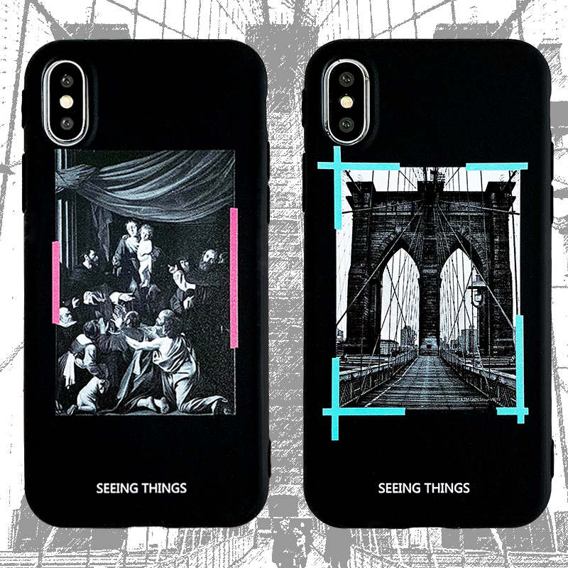 Luxury Classical painting <font><b>White</b></font> <font><b>Off</b></font> Phone <font><b>Case</b></font> For <font><b>iphone</b></font> 11 pro Max 6 s <font><b>7</b></font> 8 Plus X XS XR MAX Fashion Soft Silicone Cover Coque image