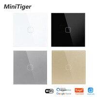 Minitiger EU Standard 1/2/3 Gang Tuya/Smart Life WiFi Wall Light Touch Switch Crystal Glass Wireless Control Smart Switch