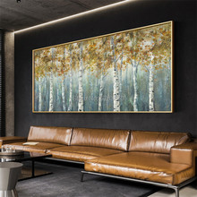 Hand painted Home Wall tree Canvas Art Abstract Nordic Forest landscape Oil Painting Modern Decoration