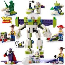 Toy story 4 Movie 8in1 285PCS building block Buzz Lightyear cowboy Hu Di three eyes alien Anime figures toy
