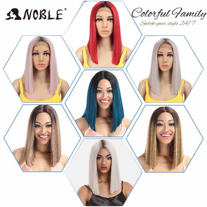 Image 4 - Noble Cosplay Synthetic Lace Front Wig Short Bob Straight 14 Inch Pink Lace Front Blonde Wigs Lace front Wigs For Black Women