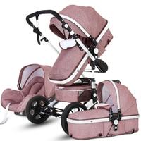 High Landscape Baby Stroller 3 in 1 Hot Mom Stroller Luxury Travel Pram Carriage Basket Baby Car Seat and Stroller Carrito Bebe