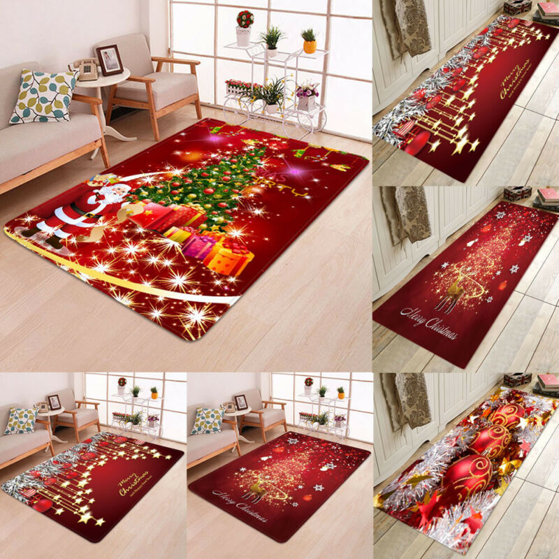 5 Sizes 8 Styles Christmas Rug Anti-slip Carpet Xmas Santa Claus Print Floor Mat Rugs For Party Home Christmas Decoration