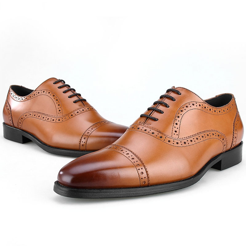 Brand 100% Genuine Leather Finger Cap Shoes Men Oxfords Quality Handmade Designers Formal Business Dress Shoes
