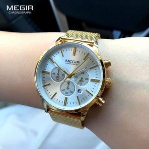 Image 3 - MEGIR femmes en acier inoxydable maille bracelet Quartz montres chronographe 24 heures Date affichage analogique montre bracelet pour dame 2011L