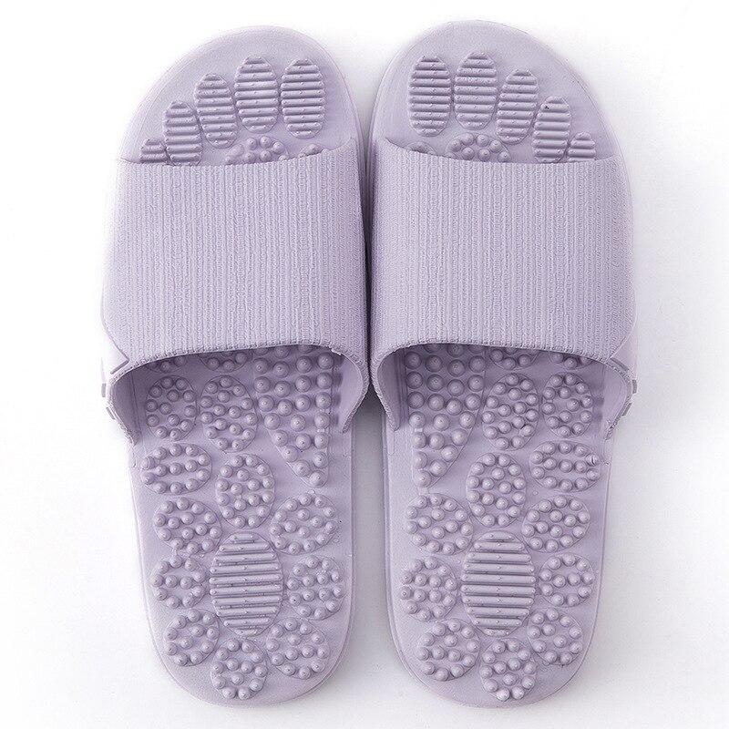 Нескользящие женские массажные тапочки; летние модные домашние уличные Вьетнамки; женская обувь; пляжные шлепанцы для ванной; мужские шлепанцы - Цвет: Фиолетовый