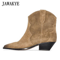 JAWAKYE Real suede leather chelsea boot Ankle Boots old made kitten heels short Boots Winter women Shoes botas mujer