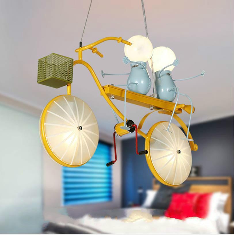 Children's room cartoon bicycle wrought iron chandelier cute bedroom LED dining chandelier modern minimalist creative lighting