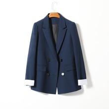 Korean Casual Ladies Blazer Solid Blue Loose Simple Suit Jacket Stylish Les Vestes Femmes Retro Spring Women Jacket New MM60NXZ