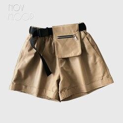Novmoop 2019 mode student lose stil hohe taille tasche shorts frauen overalls mit einstellbare schärpen spodenki bermudas LT2861