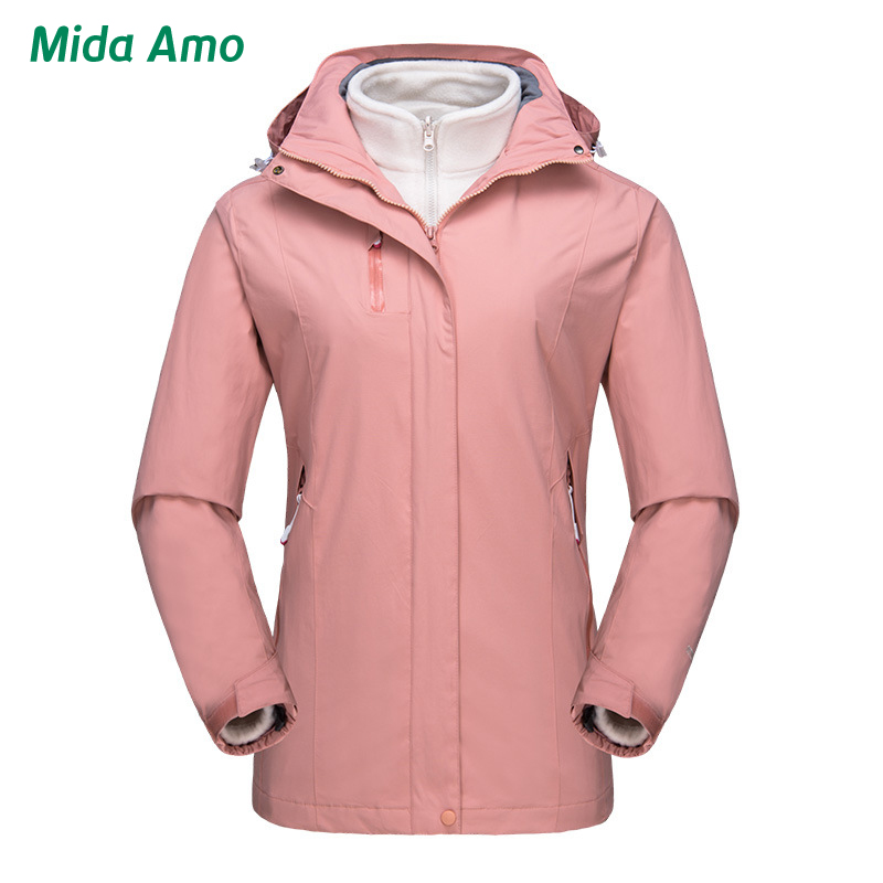 Women Two Pieces Detachable Skiing Jacket Windproof Waterproof Outdoor Hiking Jacket Anti-Shrink Camping Sport Thick Warm Coat