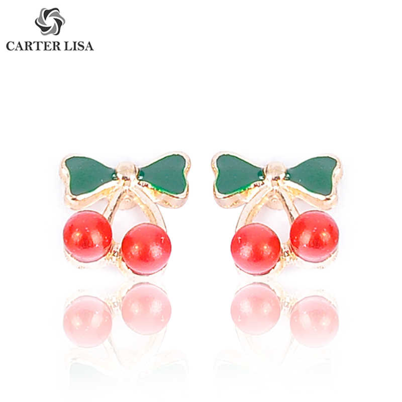CARTER LISA Enamel Red Cherry Fruit Stud Earings For Women Girl Fashion Kitsch Jewelry Party Christmas Gifts Brincos oorbellen