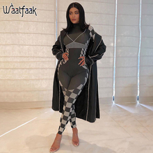 Waatfaak Plaid Print Long Sleeve Bodycon Jumpsuit Women Outfit Workout Long Length Overalls Mujer Casual Jump Suit Fitness 2020