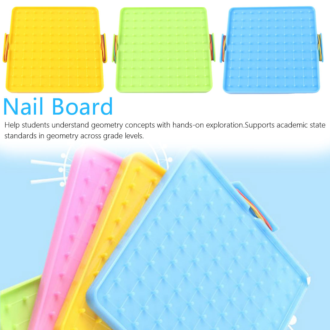 Plastic Nail Plate Primary Mathematics Nailboard Tool Geometry Demo Educational Teaching Instrument Puzzle Game Toy